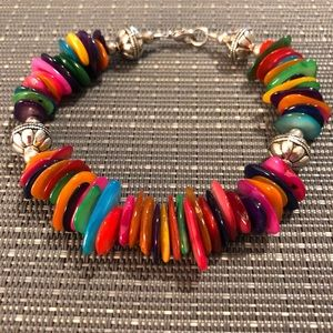 Jewelry - Multi-colored Flat Bead & Silver Ball Bracelet